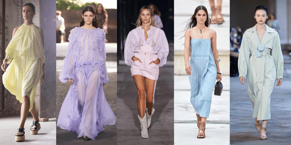 Стильные женские платья в пастельных тонах актуальны в новом сезоне 2021 года